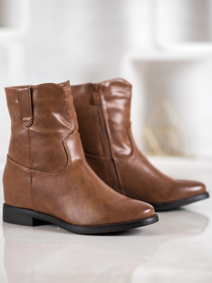 Luxusní kotníčkové boty dámské hnědé na klínku