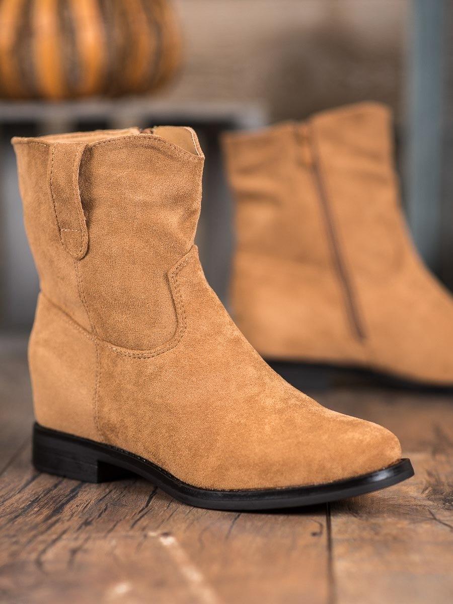 Luxusní kotníčkové boty hnědé dámské na klínku