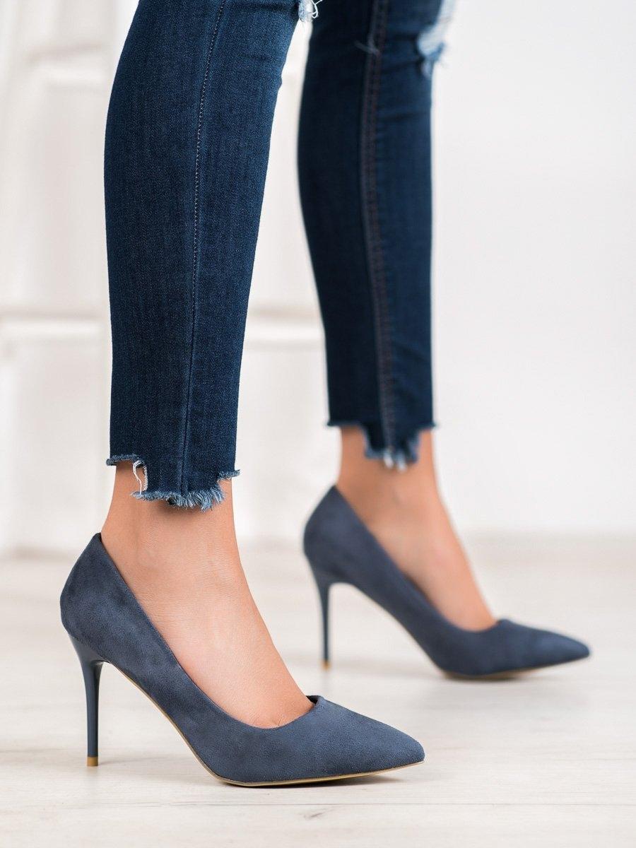 Luxusní lodičky dámské modré na jehlovém podpatku