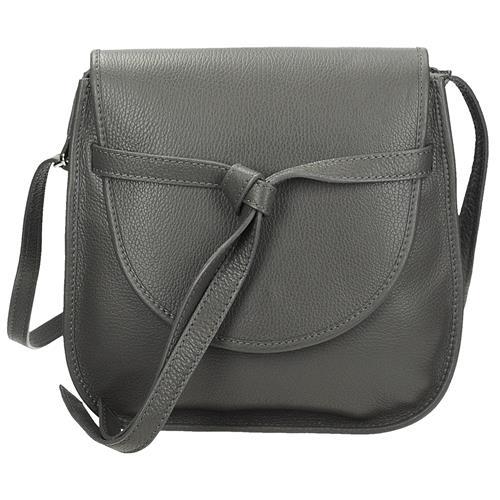 Luxusní šedá kožená crossbody kabelka