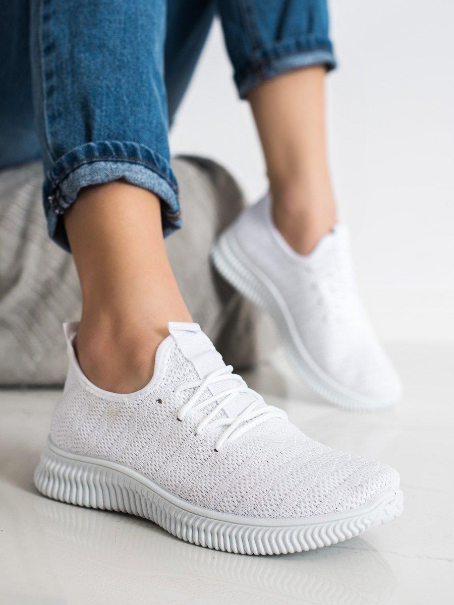 Levně Luxusní tenisky bílé dámské bez podpatku