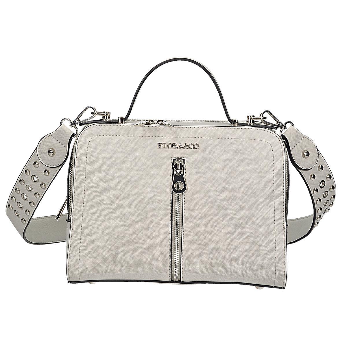 Menší šedá kabelka-kufřík, má 2 stylově odlišné řemínky