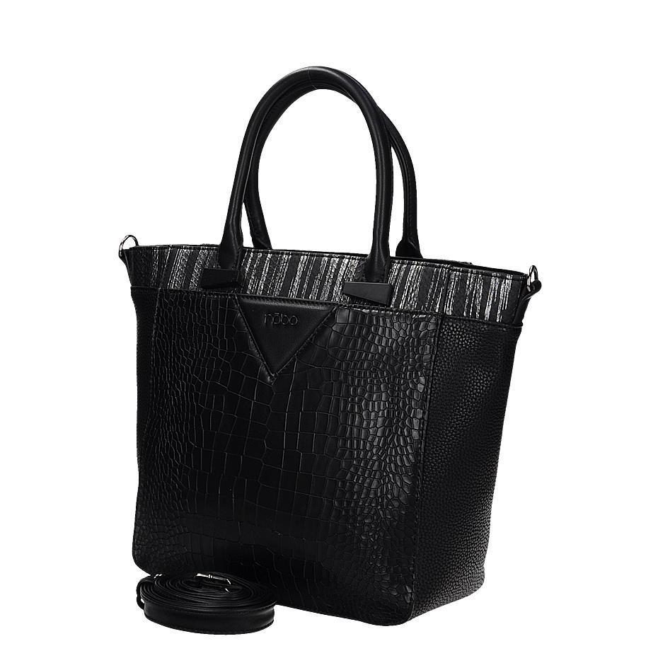 ad0c6c1bea Moderní černá dámská kabelka s hadím vzorem