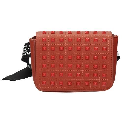 Moderní červená crossbody kabelka se cvočky 9b2fd0a14ff