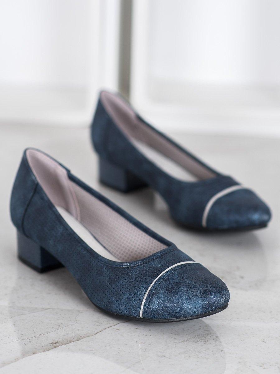 Moderní dámské lodičky modré na širokém podpatku
