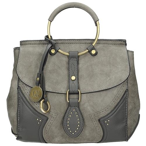 Moderní šedá kabelka s kulatými úchyty cc827ad6b50