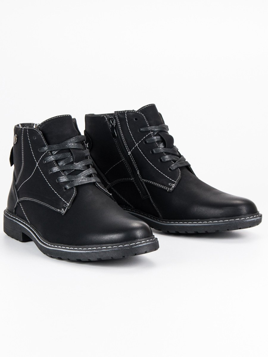 Modní černé pánské kotníkové boty