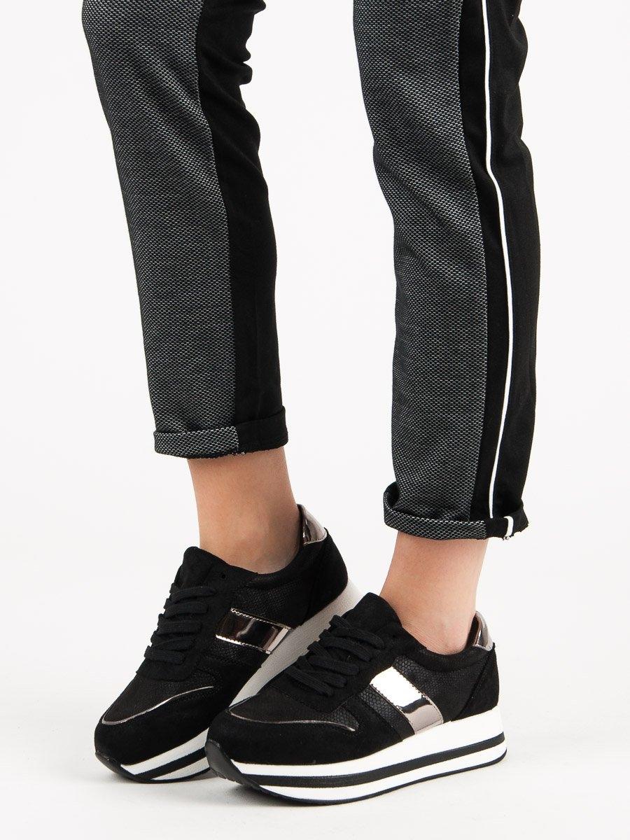 ed3f81df12f7 Módní černé tenisky dámské bez podpatku