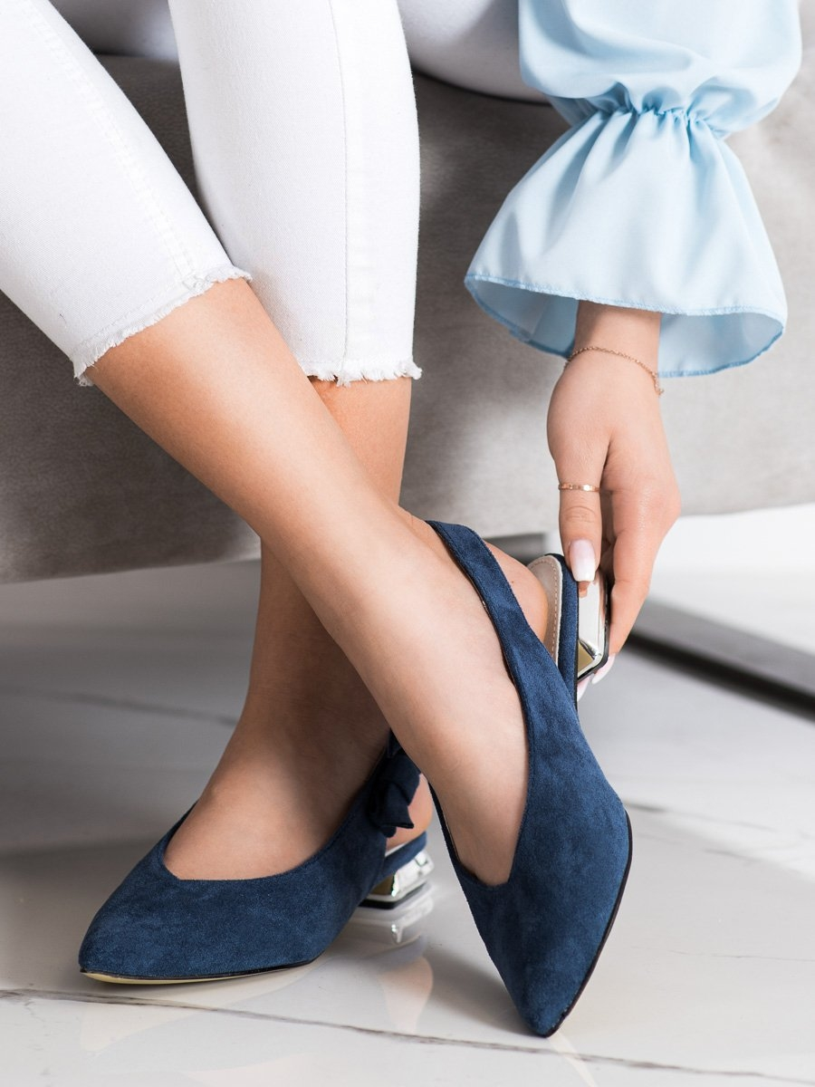 Levně Módní dámské lodičky modré na plochém podpatku