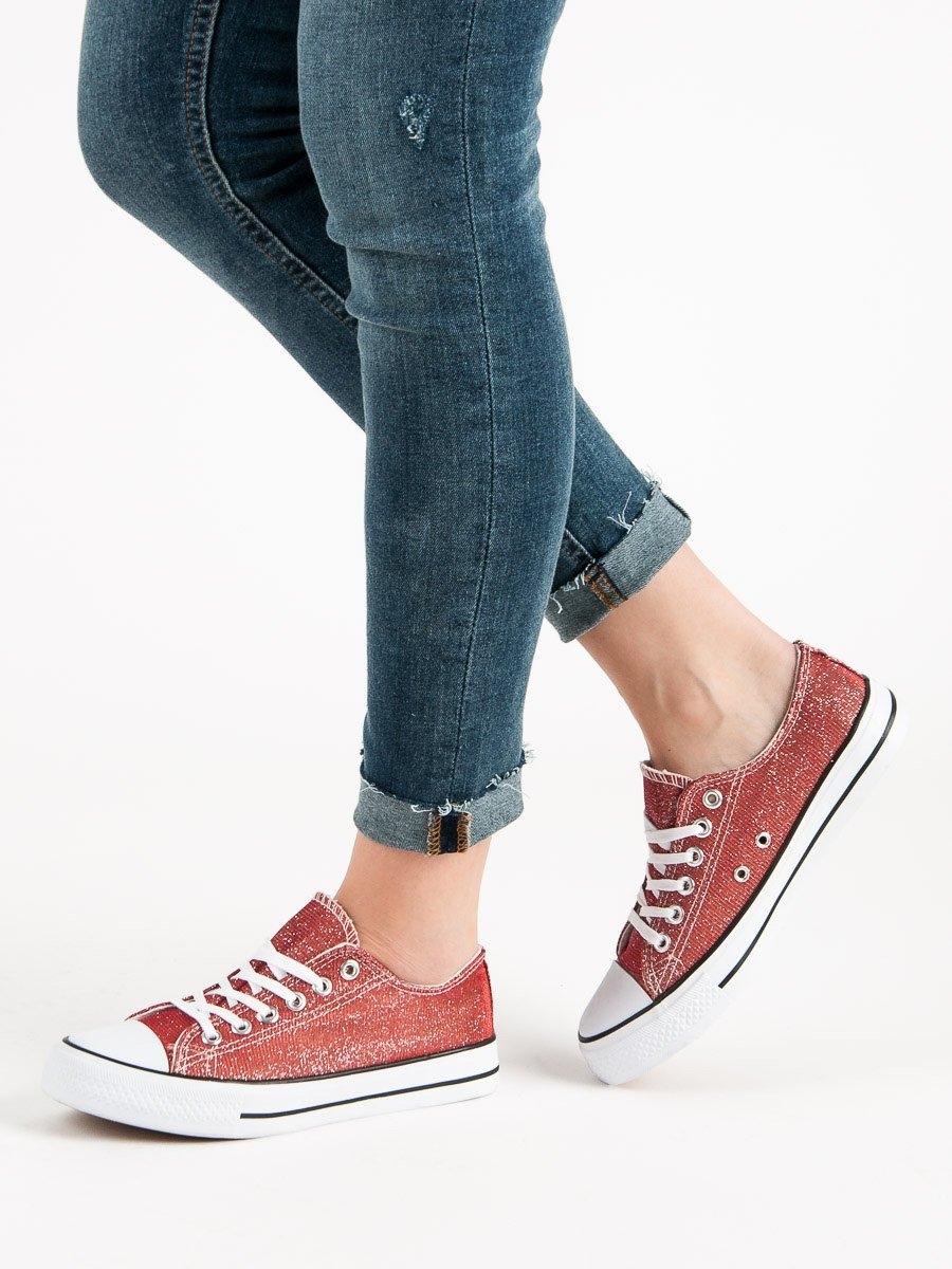 3113c99f6d Módní dámské tenisky červené bez podpatku