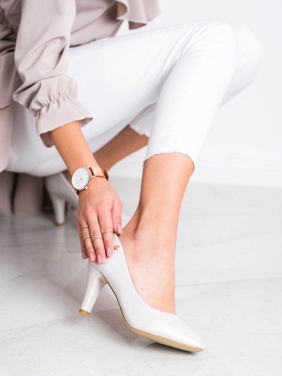 Módní lodičky dámské bílé na širokém podpatku