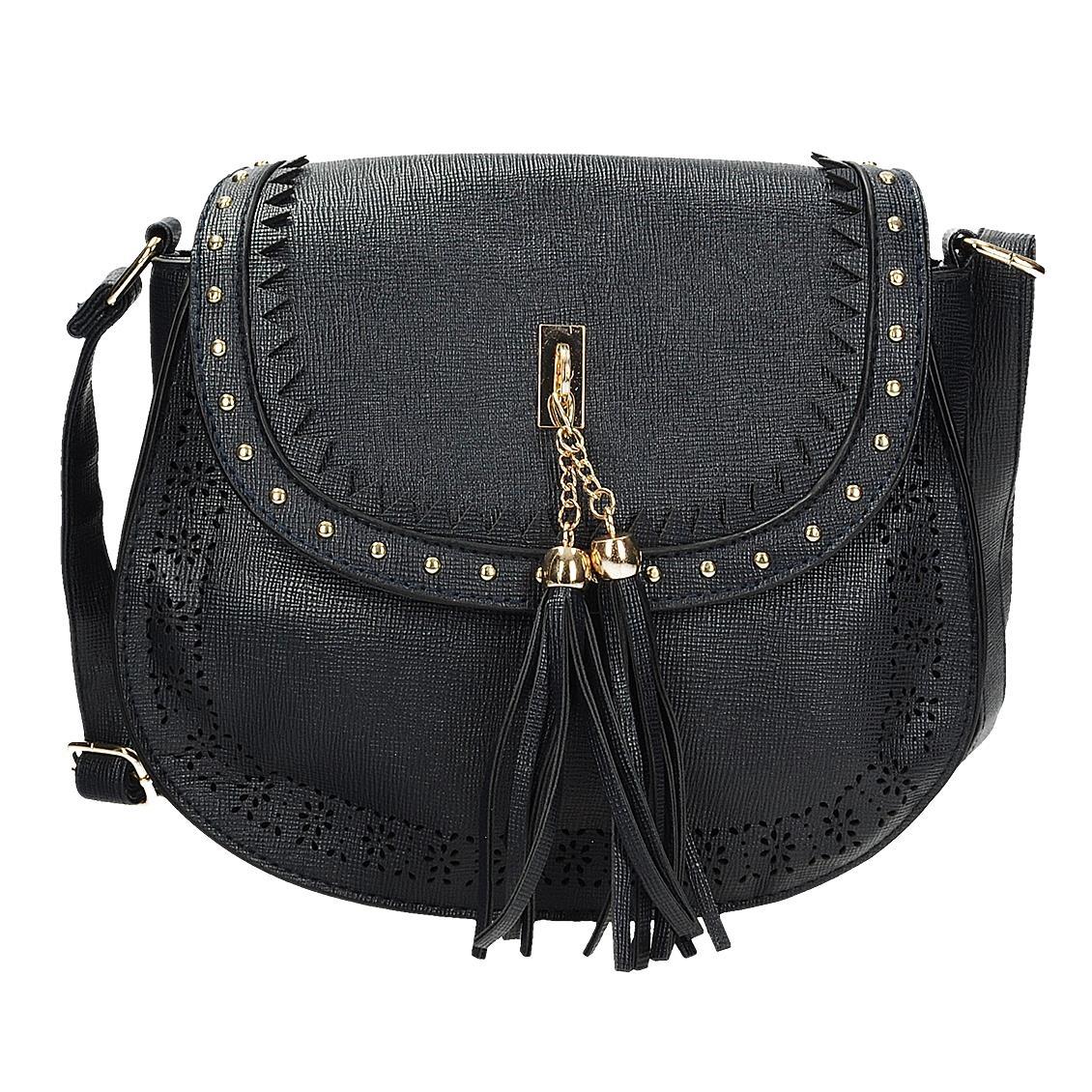 Modrá crossbody kabelka s třásněmi
