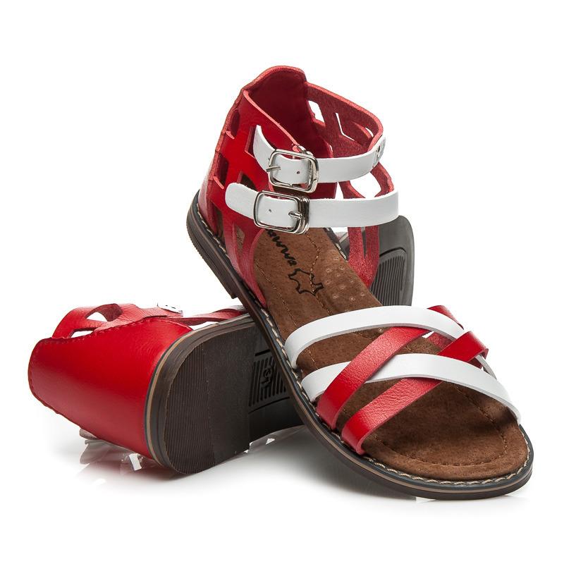 2a6523795d38 Nízké bílo-červené páskové dětské sandálky