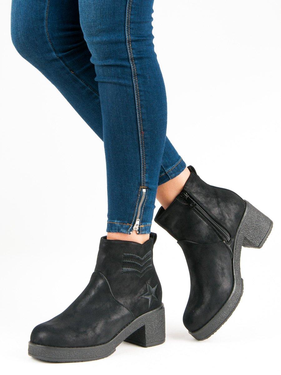 Nízké černé kotníkové boty na podpatku efe2ccd698