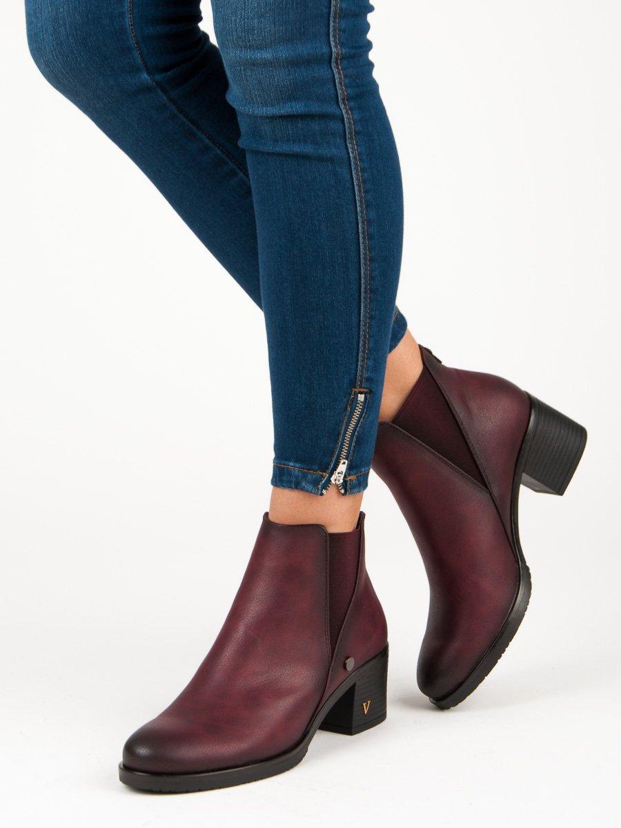 Originální vínové kotníkové boty na podpatku  e5db88dd59
