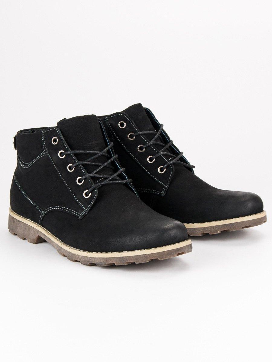 47ced4923e2 Pánské černé kožené kotníkové boty