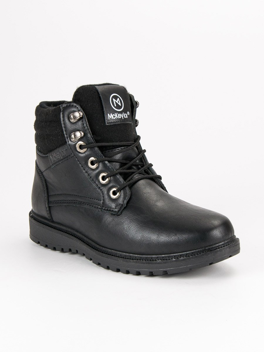Pánské černé zateplené kotníkové boty