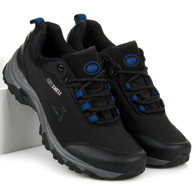 Pánské černo-modré trekové boty s membránou Softshell  2c524bb3f7