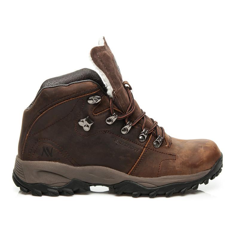 Pánské hnědé zimní kotníkové boty ve sportovním stylu  72324f5e08