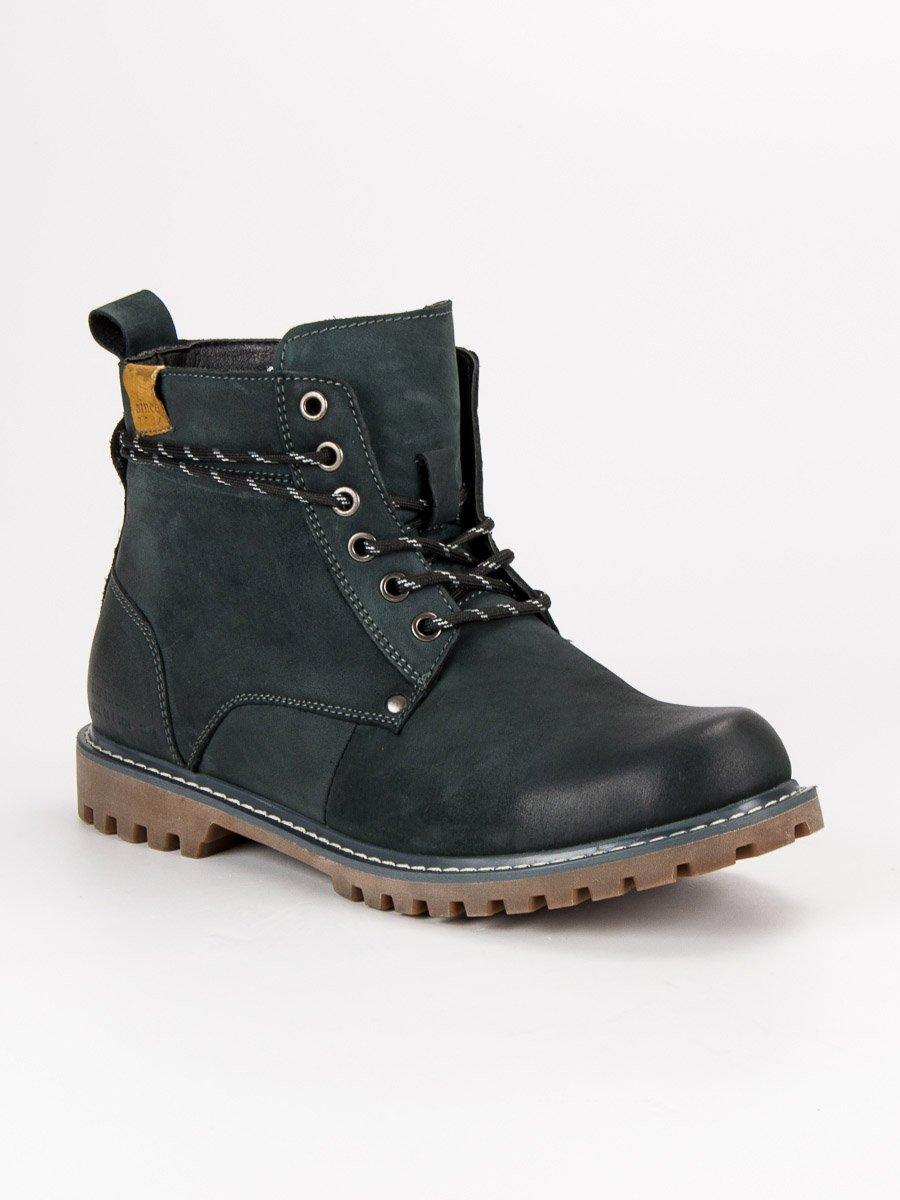 Pánské modré kožené kotníkové boty