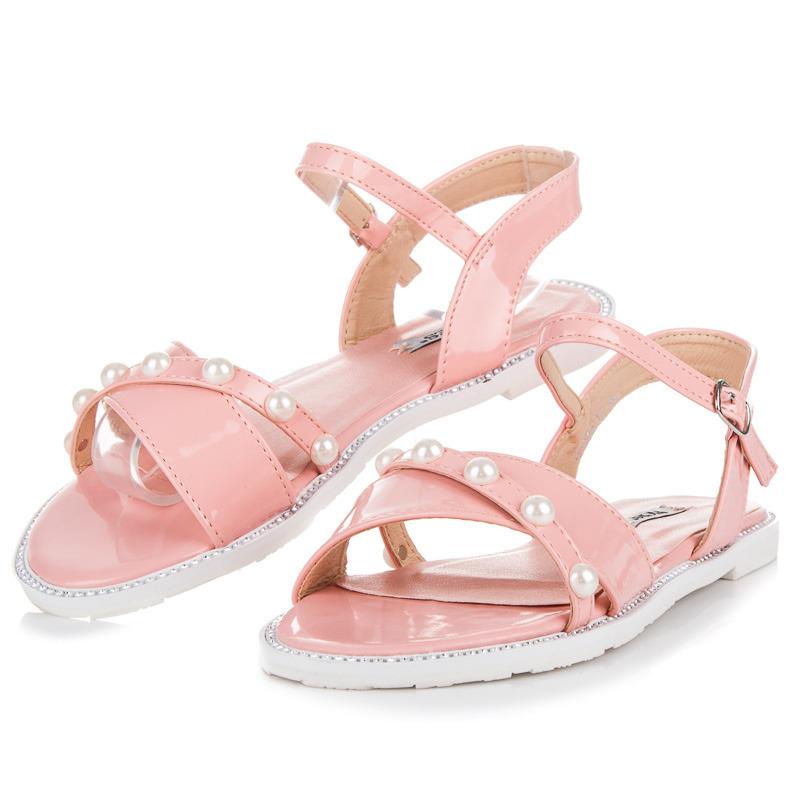 7326771f301d Ploché růžové sandály s perličkami