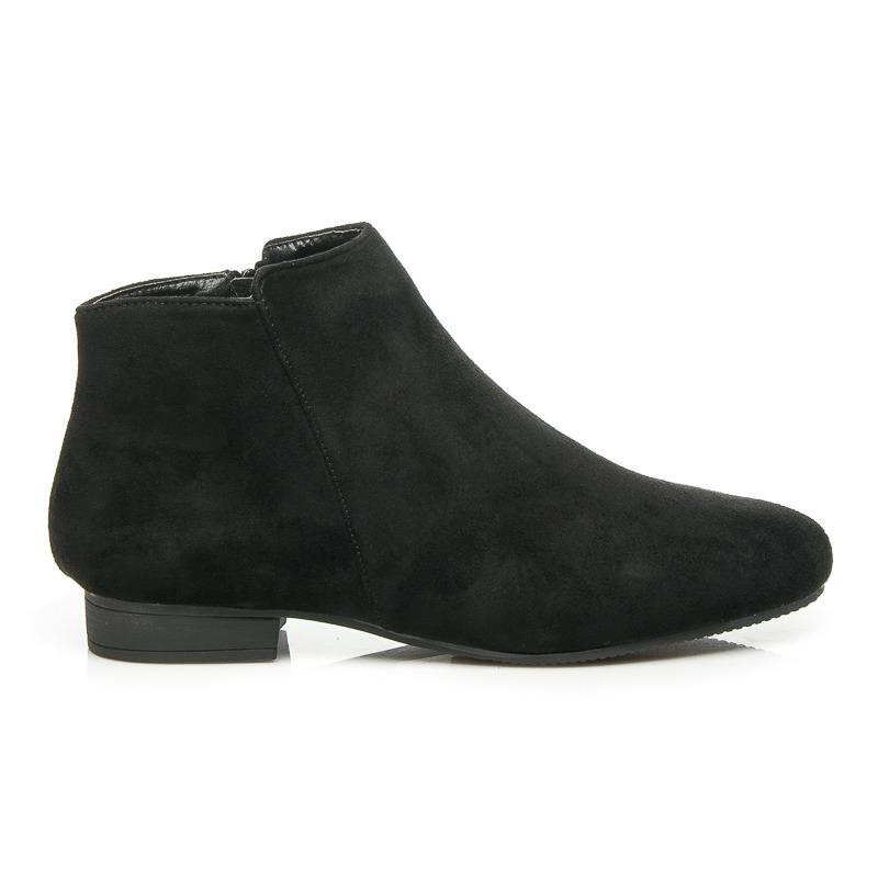 Pohodlné černé nízké dámské boty na podpatku  0c243ade72
