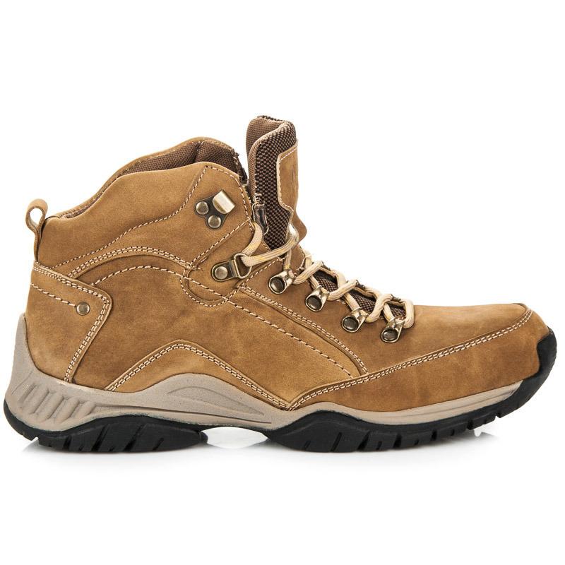 a94a29455f8 Pohodlné hnědé pánské trekové boty na šněrování