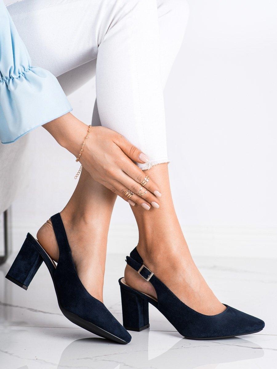 Pohodlné modré dámské lodičky na širokém podpatku