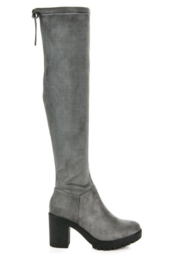 Pohodlné tmavě šedé semišové kozačky na podpatku 16ee59df43