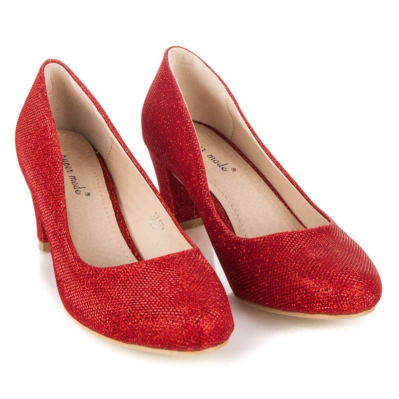d949a298b306 Pohodlné třpytivé červené lodičky na nízkém a pevném podpatku ...