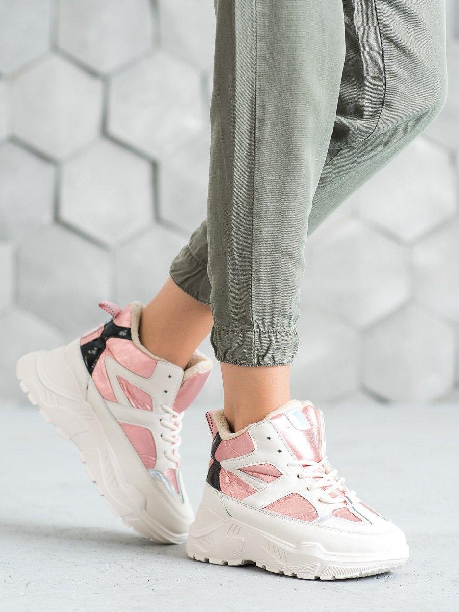 Praktické kotníčkové boty dámské růžové na klínku