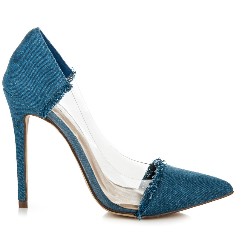 8271cf5ca264 Průsvitné modré džínové lodičky