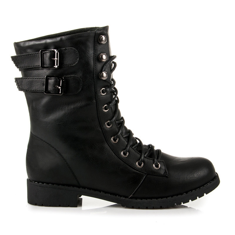 Rockerské černé vyšší boty se šněrováním  d2b24ecf20