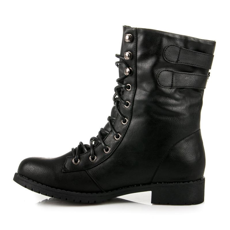 ... Rockerské černé vyšší boty se šněrováním afb68ab99c