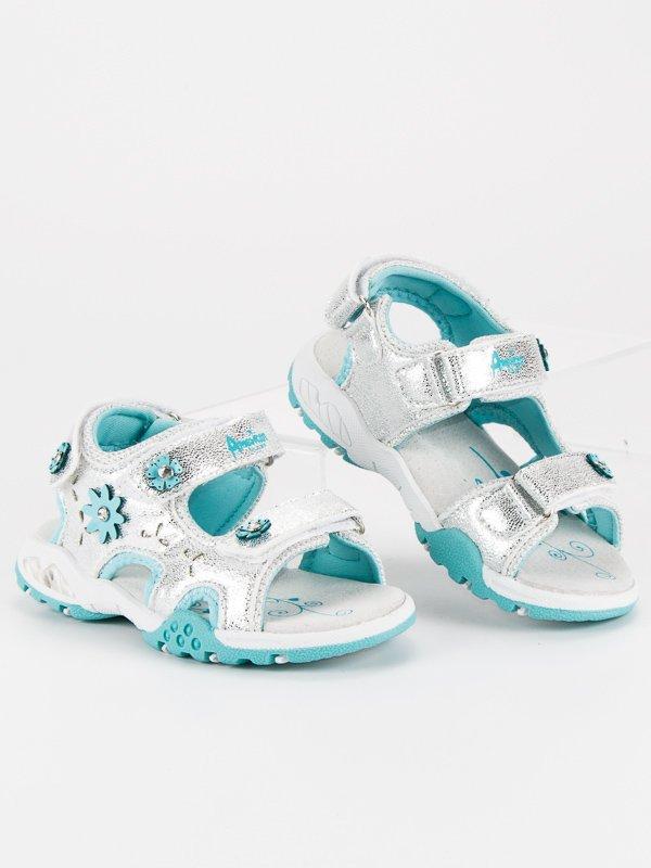 Roztomilé stříbrné dívčí sandály na suchý zip