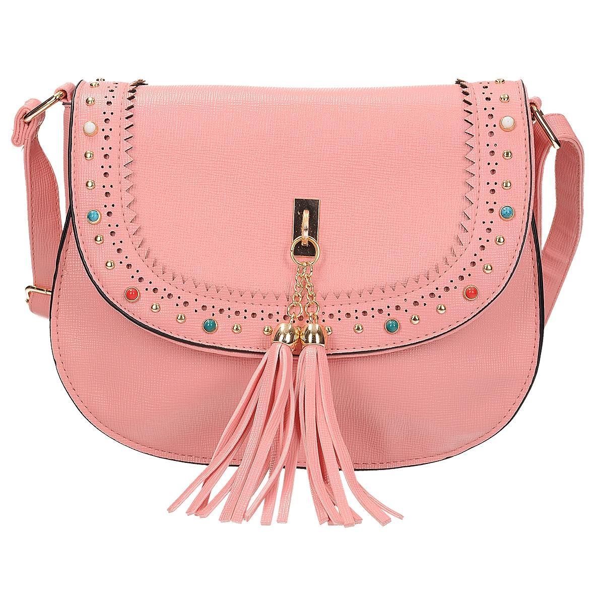 ad1bb66089 Růžová crossbody kabelka s barevnými kamínky