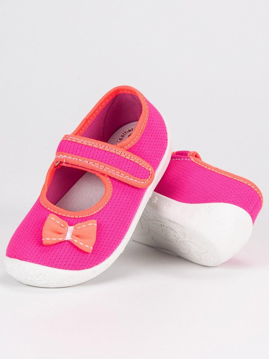 Růžové dívčí papuče s mašličkou  982af0ad7f