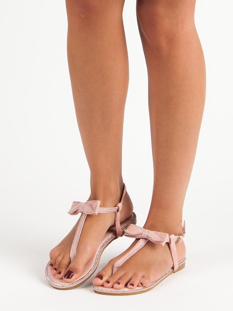 6d2512e15a28 Růžové sandály-žabky s mašličkou