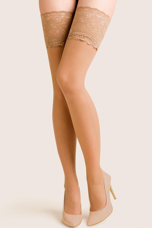 Samodržící punčochy Calze Exclusive beige