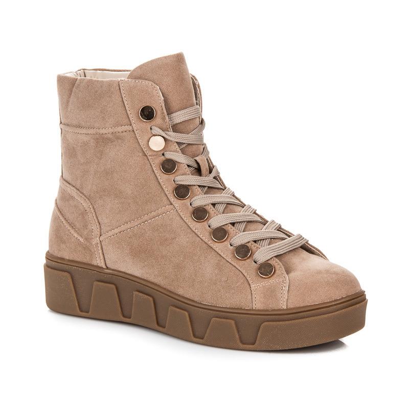 45a2327aee3d Semišové béžové kotníkové boty na platformě se šněrováním