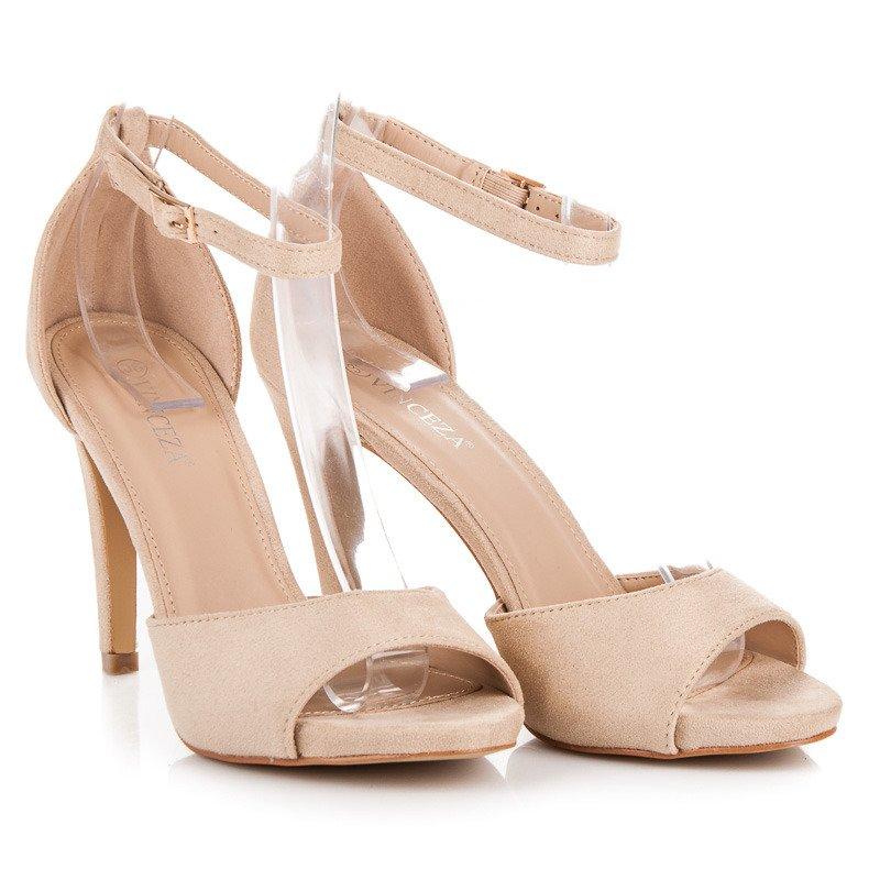 7acdb2f24f2e0 Semišové béžové sandály na podpatku | AMIATEX.cz