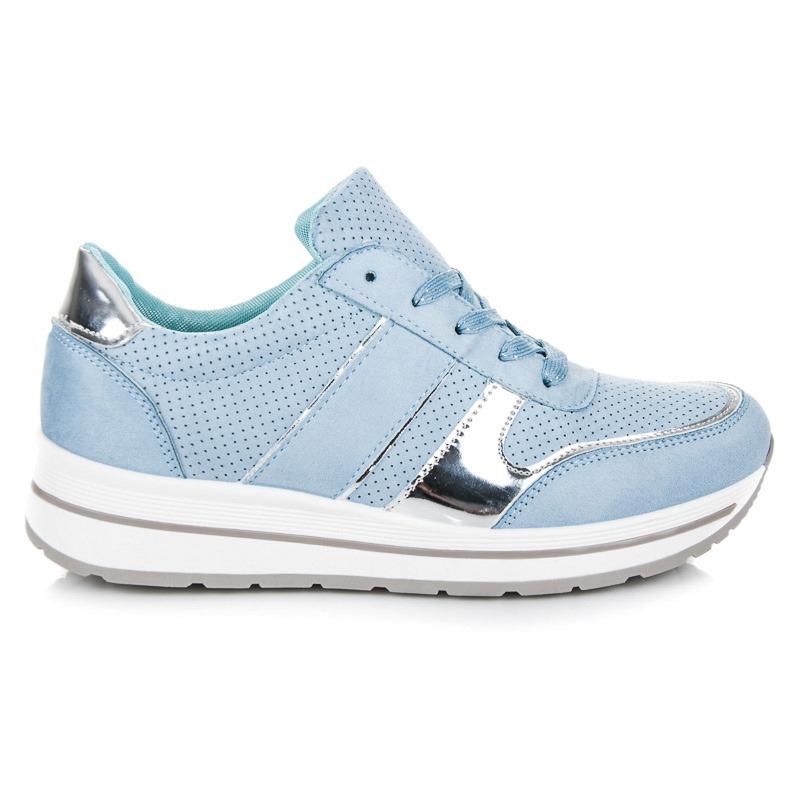 980de1529f Semišové modré tenisky na platformě