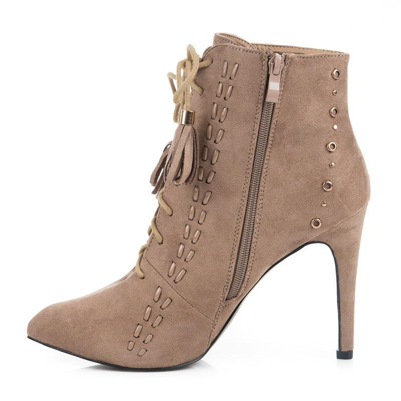 ... Šněrovací béžové kotníkové dámské boty na podpatku ... 29511f5f20