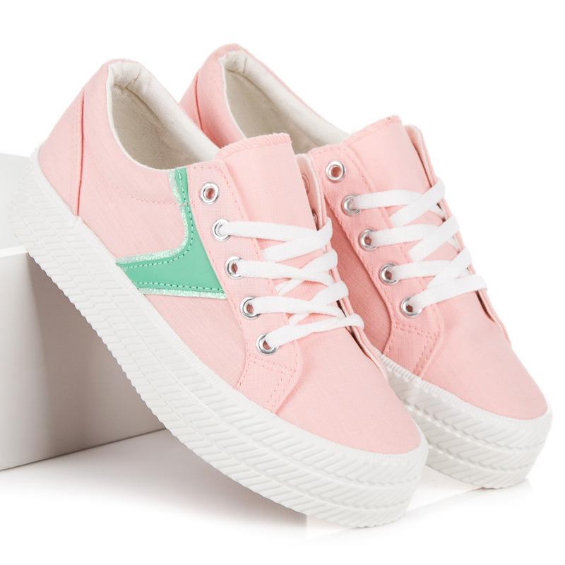 Šněrovací růžové tenisky na platformě 8067ad21c33