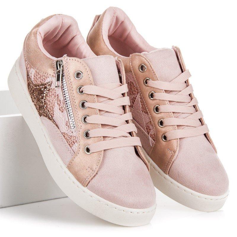 CNB Šněrovací růžové tenisky s ozdobným zipem