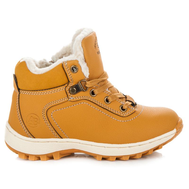 9805e6a4576 Sportovní hnědé dětské zimní boty s kožíškem
