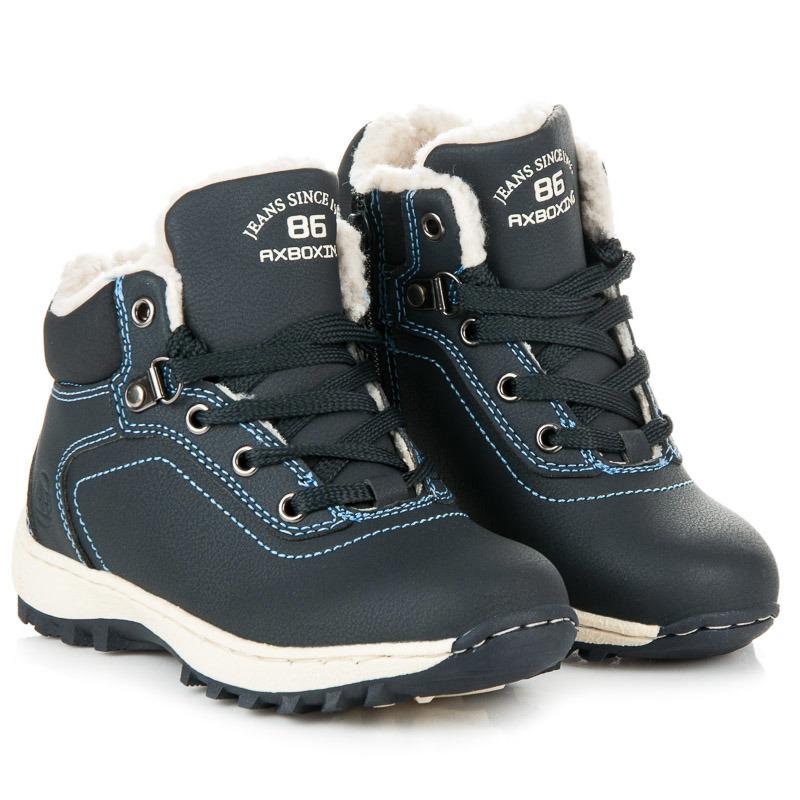 66e1781a7b4 Sportovní modré dětské zimní boty s kožíškem