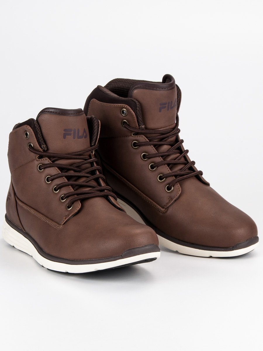 Sportovní tmavě hnědé pánské kotníkové boty