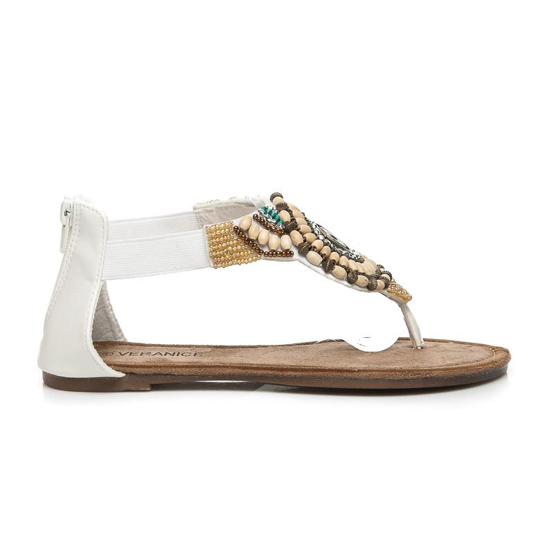 e75bf9f20e Stylové bílé dámské sandálky s kamínky