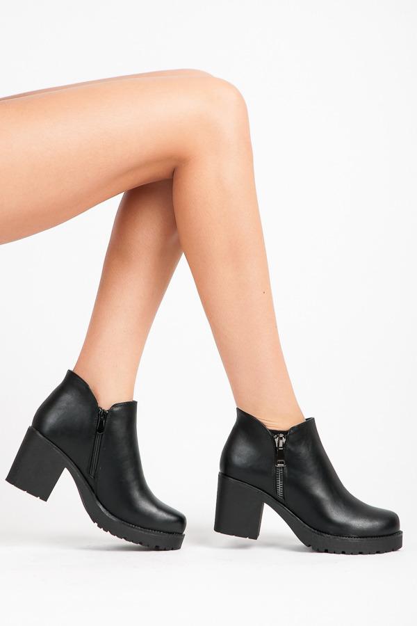Stylové černé kotníkové boty na širokém podpatku a platformě ... 32b387714e